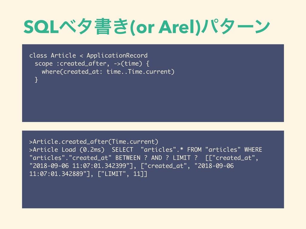 SQLϕλॻ͖(or Arel)ύλʔϯ class Article < Applicatio...
