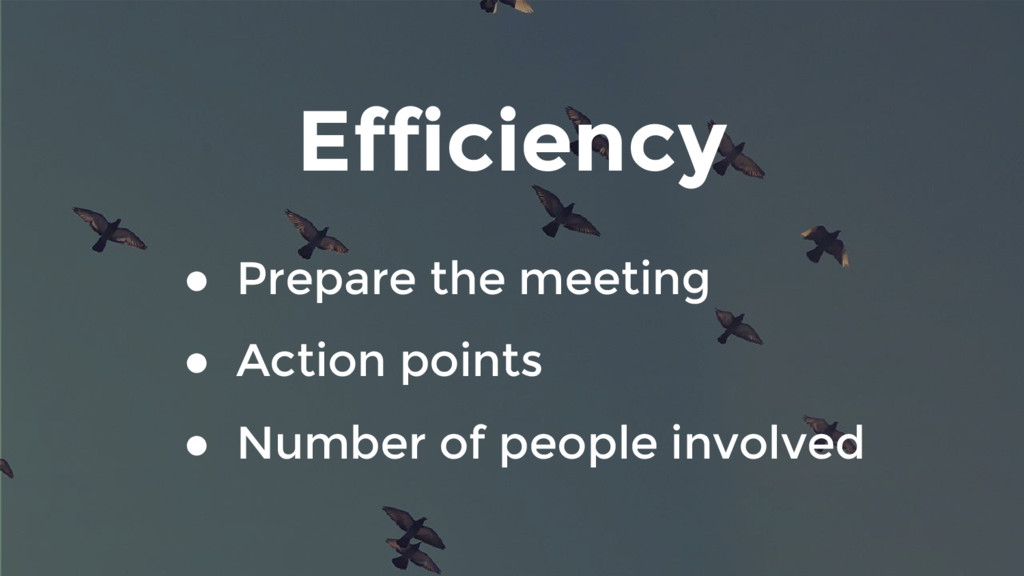 Efficiency ● Prepare the meeting ● Action point...