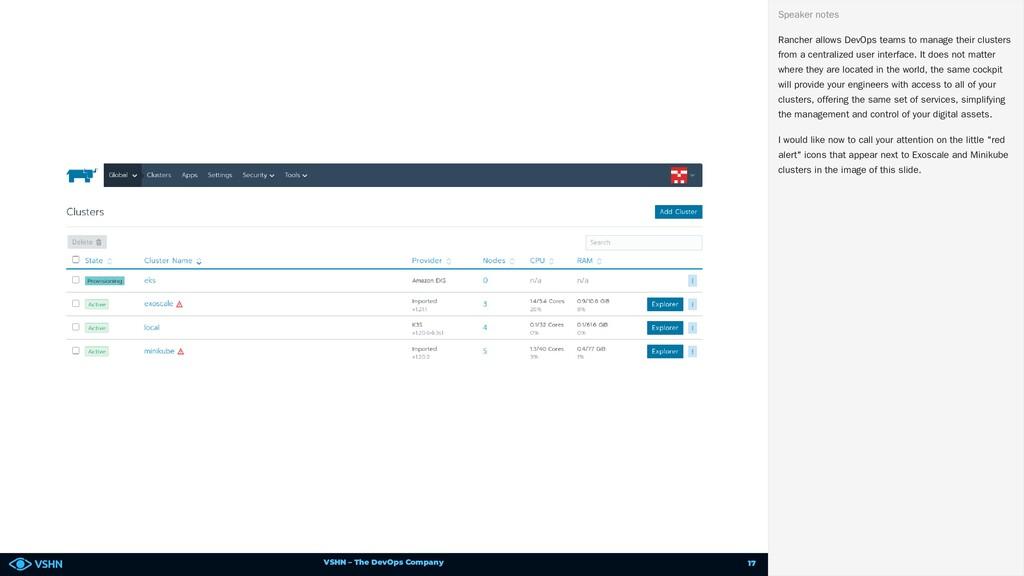 VSHN – The DevOps Company Rancher allows DevOps...