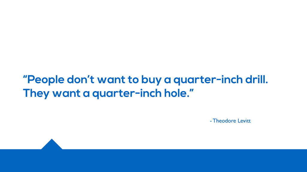 """""""People don't want to buy a quarter-inch drill...."""