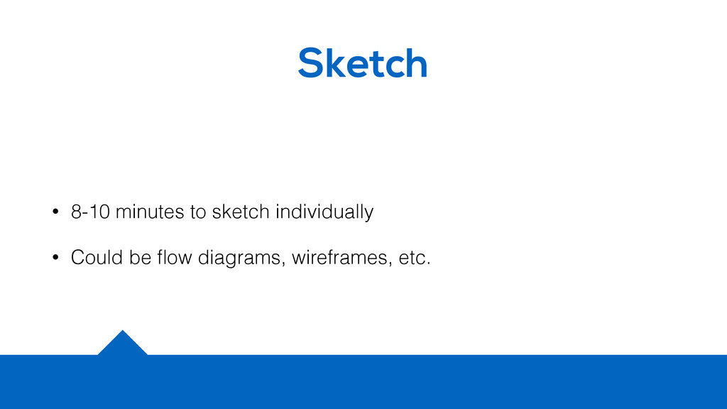 Sketch • 8-10 minutes to sketch individually • ...