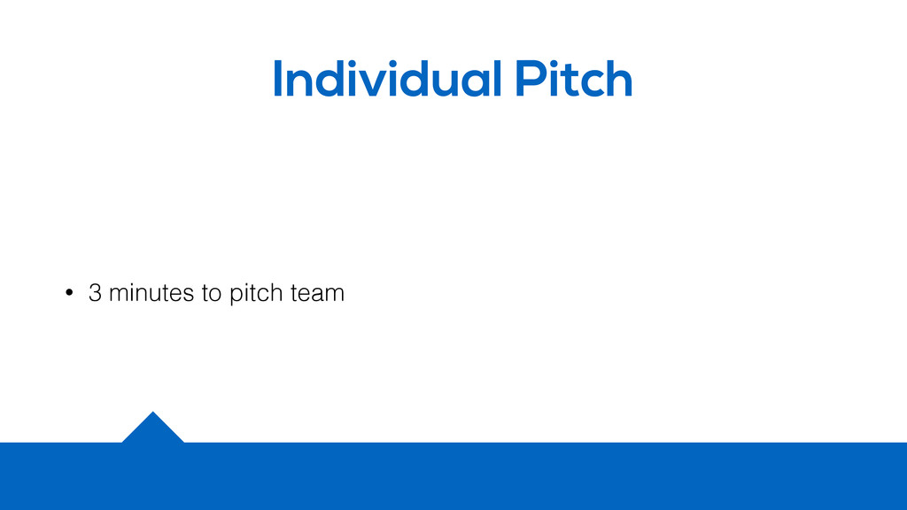 Individual Pitch • 3 minutes to pitch team