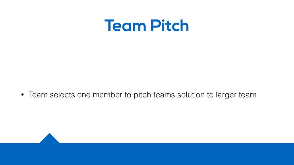 Team Pitch • Team selects one member to pitch t...