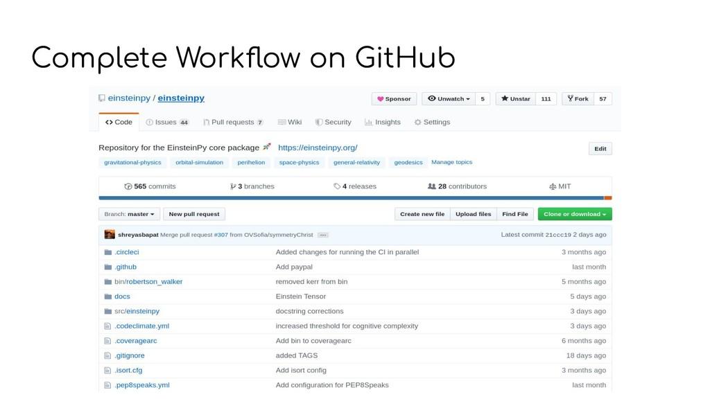 Complete Workflow on GitHub