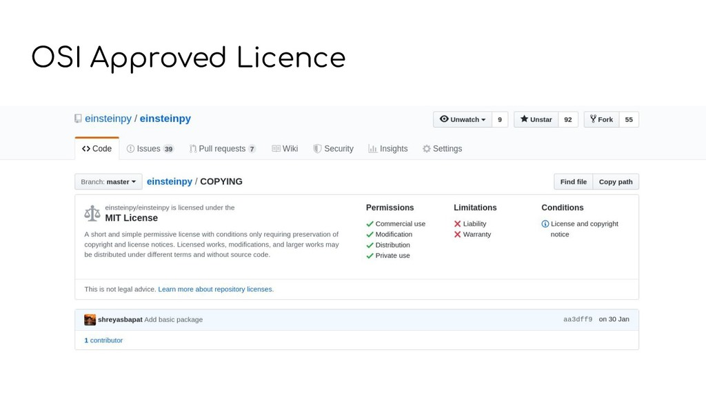 OSI Approved Licence