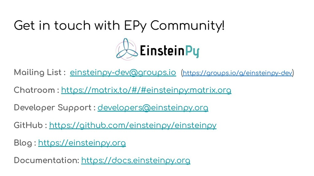 Get in touch with EPy Community! Mailing List :...