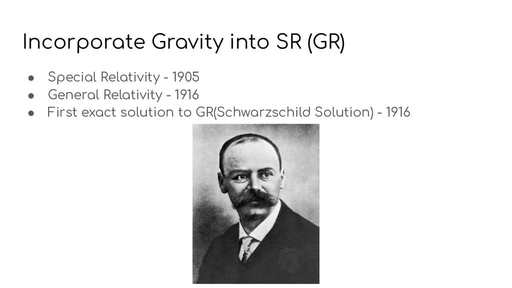Incorporate Gravity into SR (GR) ● Special Rela...