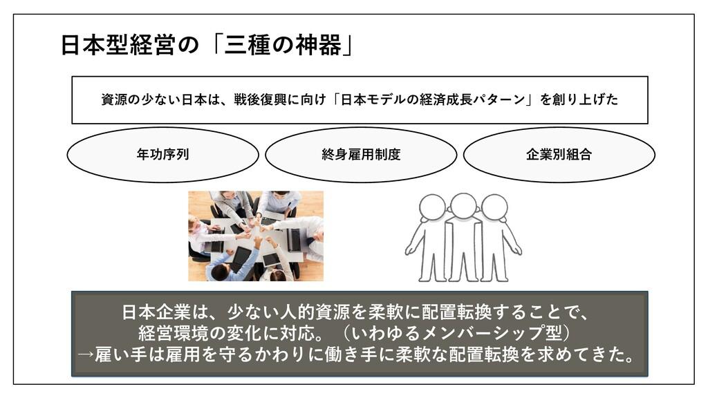 日本型経営の「三種の神器」 資源の少ない日本は、戦後復興に向け「日本モデルの経済成長パターン」...