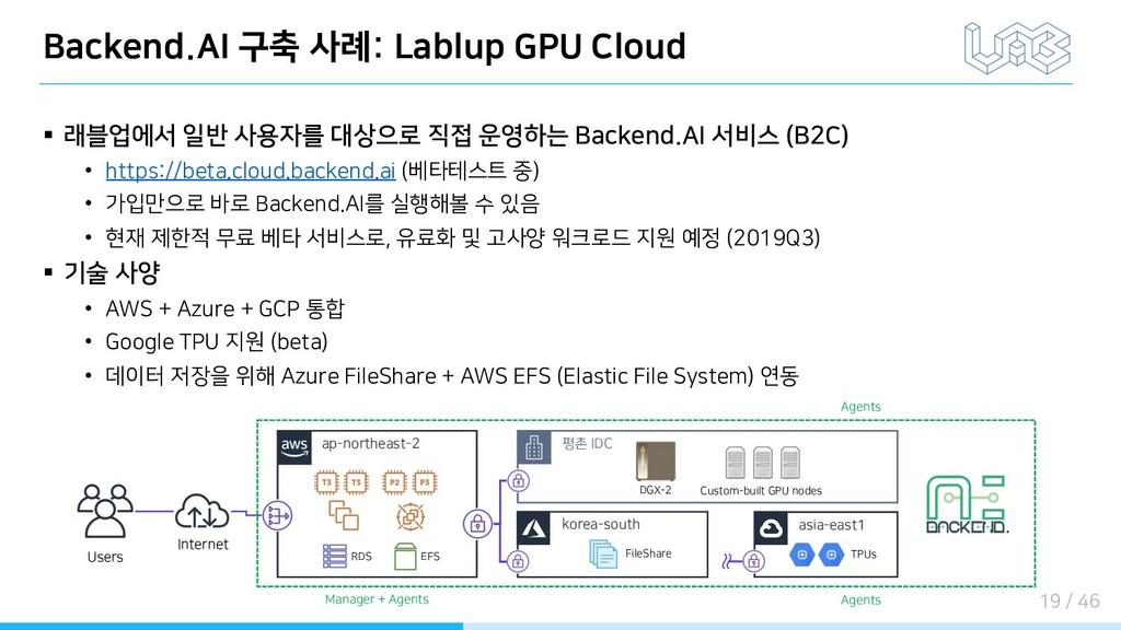 Backend.AI 구축 사례: Lablup GPU Cloud § 래블업에서 일반 사...