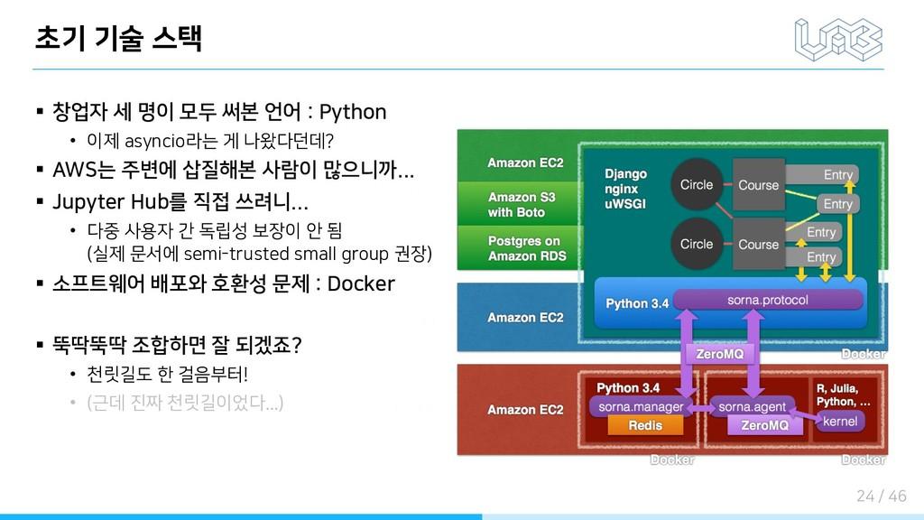 초기 기술 스택 § 창업자 세 명이 모두 써본 언어 : Python • 이제 asyn...