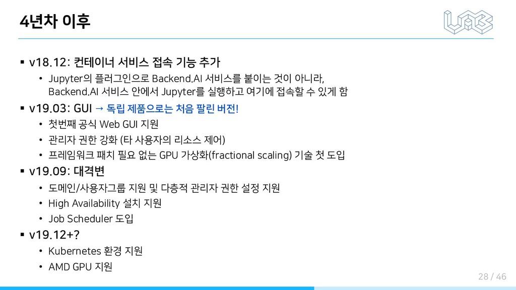 4년차 이후 § v18.12: 컨테이너 서비스 접속 기능 추가 • Jupyter의 플...