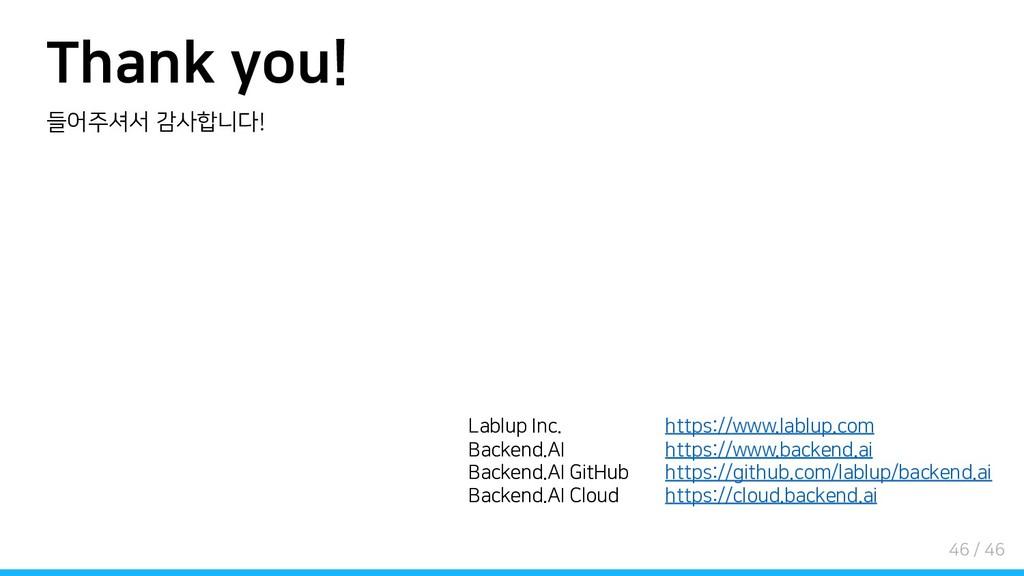 Thank you! 들어주셔서 감사합니다! Lablup Inc. Backend.AI ...
