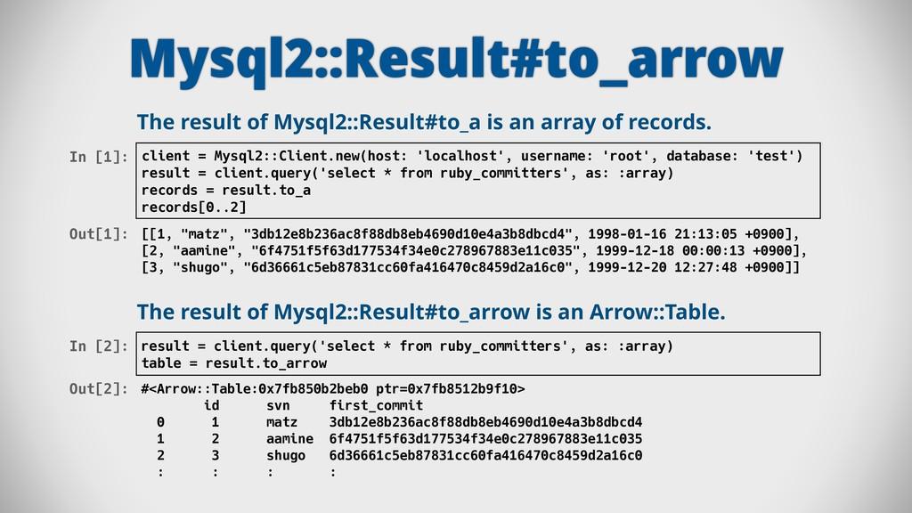 Mysql2::Result#to_arrow In [1]: client = Mysql2...