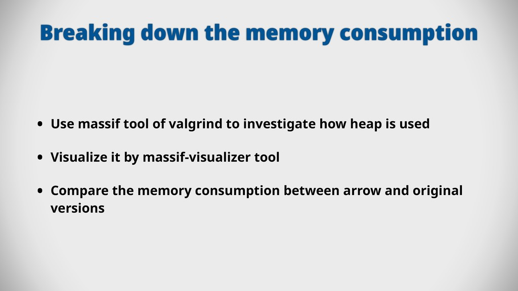 Breaking down the memory consumption • Use mass...