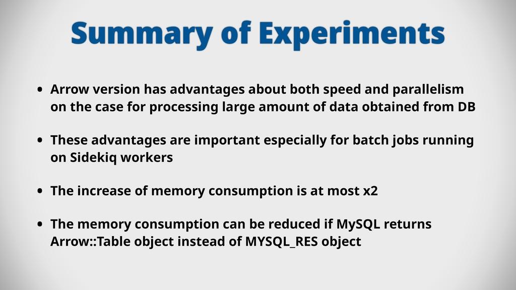 Summary of Experiments • Arrow version has adva...
