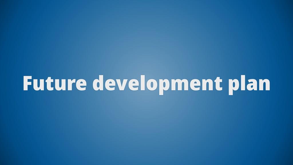 Future development plan