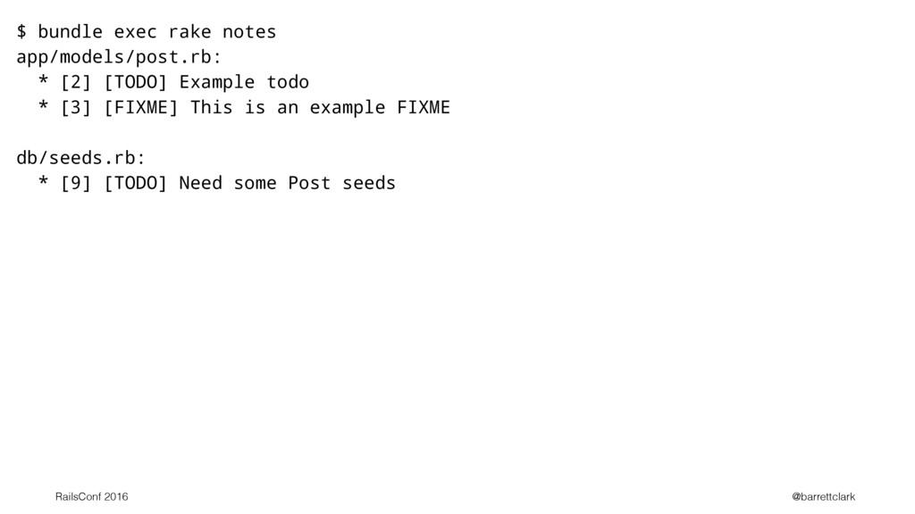$ bundle exec rake notes app/models/post.rb: * ...