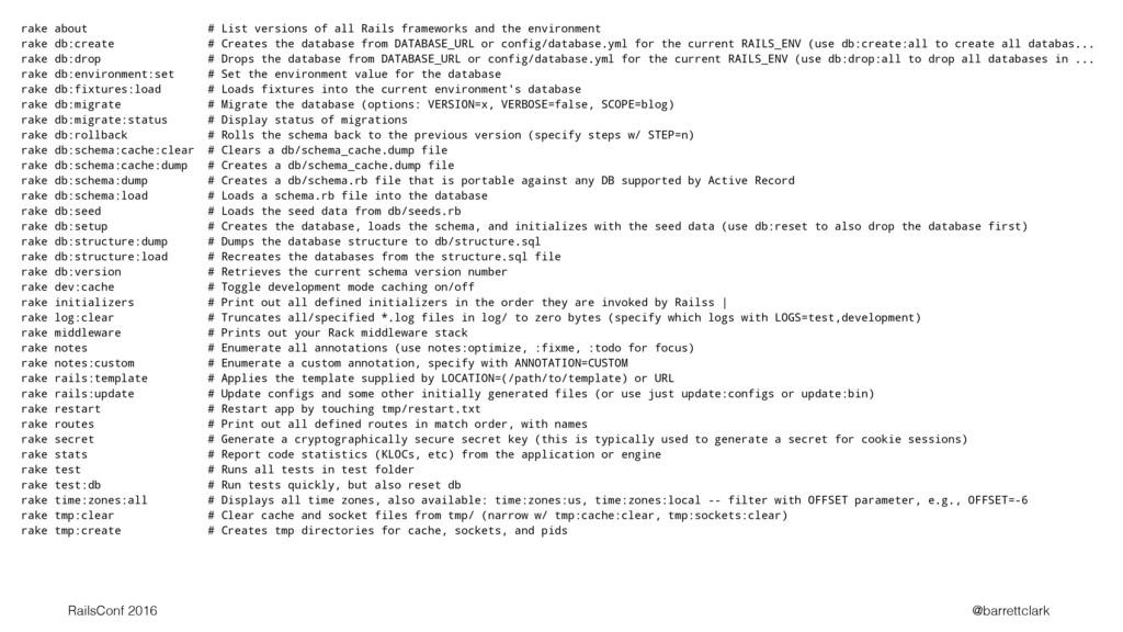 rake about # List versions of all Rails framewo...