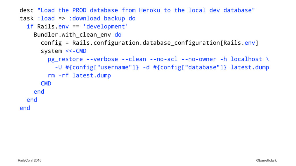 """desc """"Load the PROD database from Heroku to the..."""