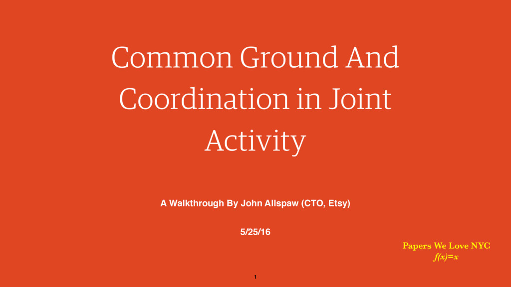 1 Common Ground And Coordination in Joint Activ...