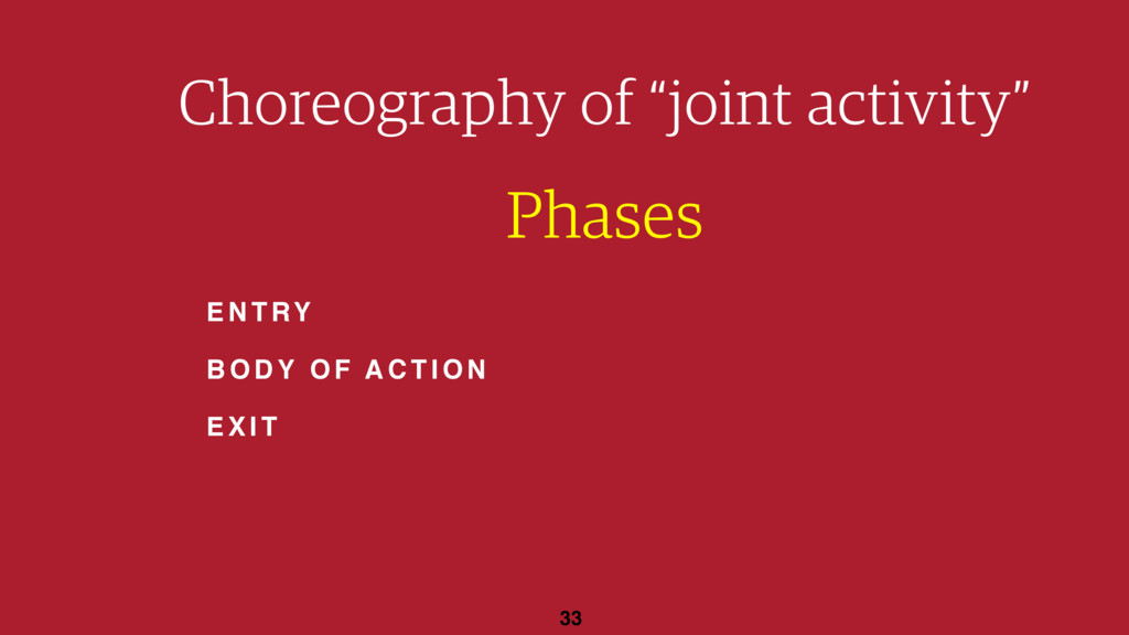 "33 Choreography of ""joint activity"" Phases ENTR..."