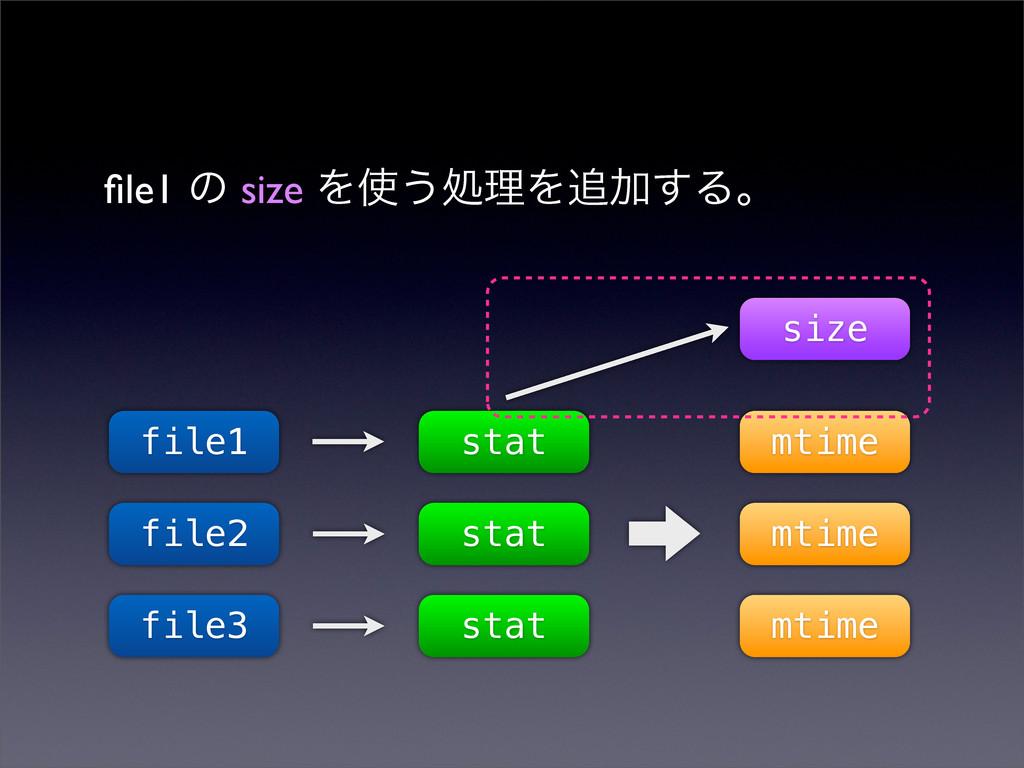 file1 ͷ size Λ͏ॲཧΛՃ͢Δɻ file1 file2 file3 stat ...