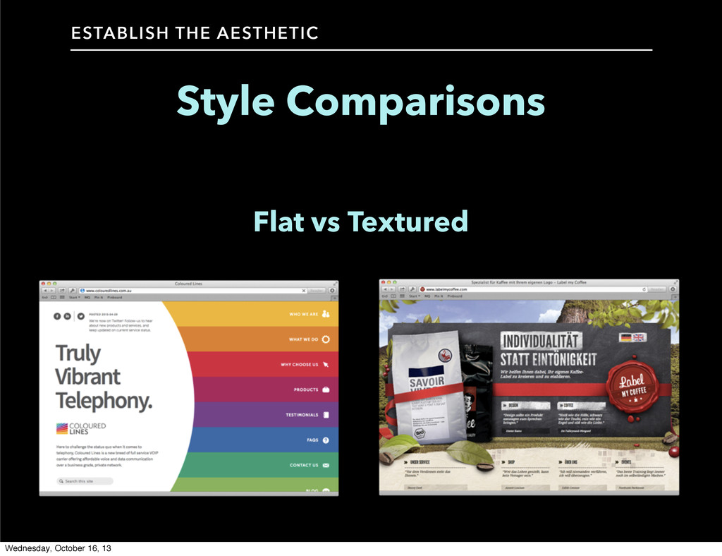 Style Comparisons ESTABLISH THE AESTHETIC Flat ...