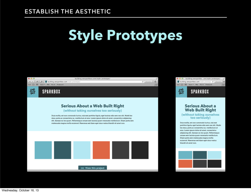 Style Prototypes ESTABLISH THE AESTHETIC Wednes...