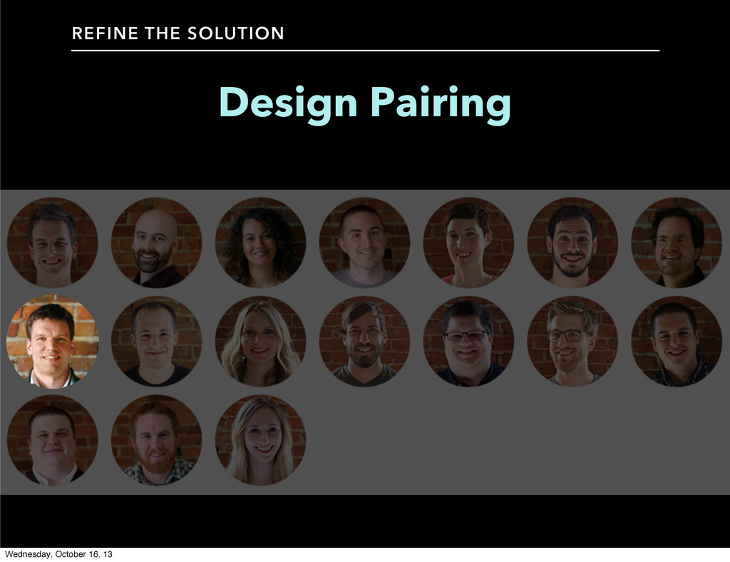 Design Pairing REFINE THE SOLUTION Wednesday, O...