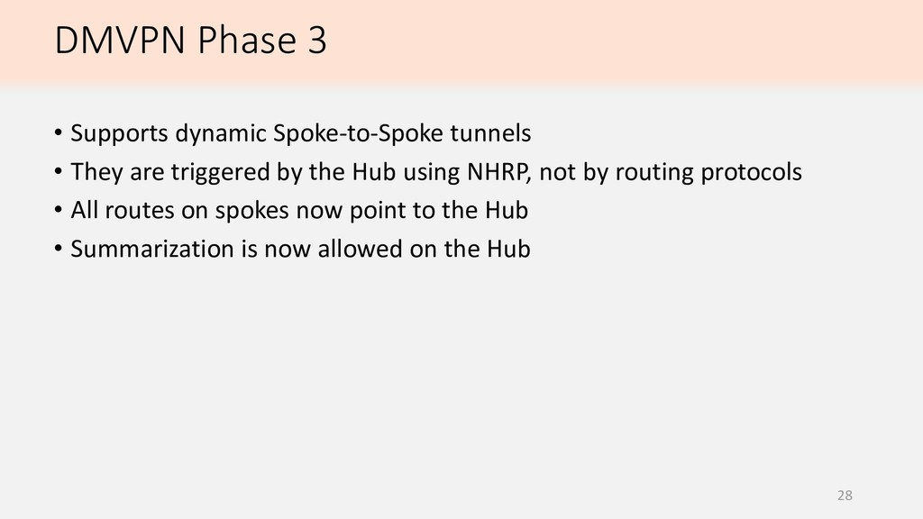 DMVPN Phase 3 28 • Supports dynamic Spoke-to-Sp...