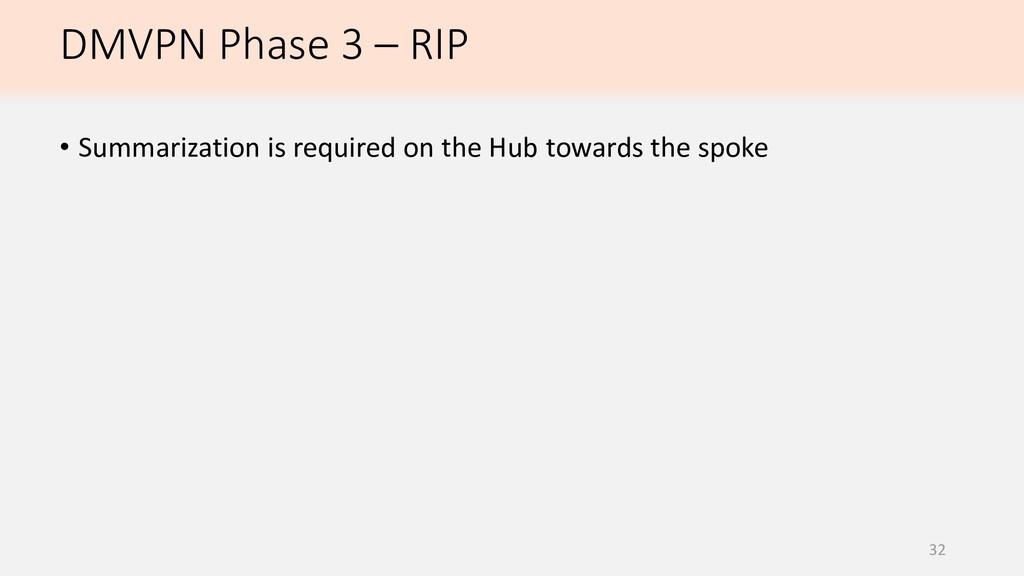 DMVPN Phase 3 – RIP 32 • Summarization is requi...