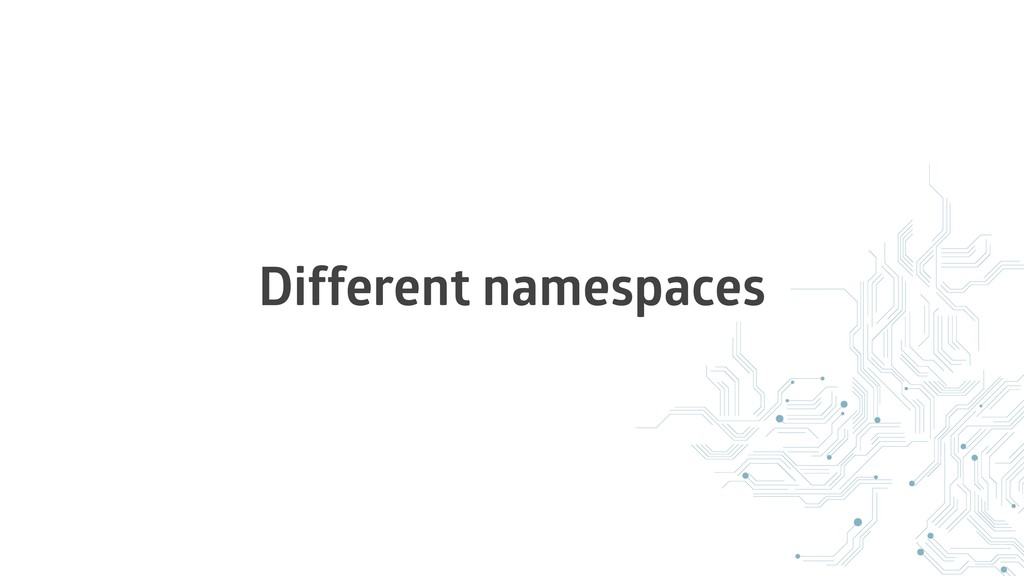 Different namespaces