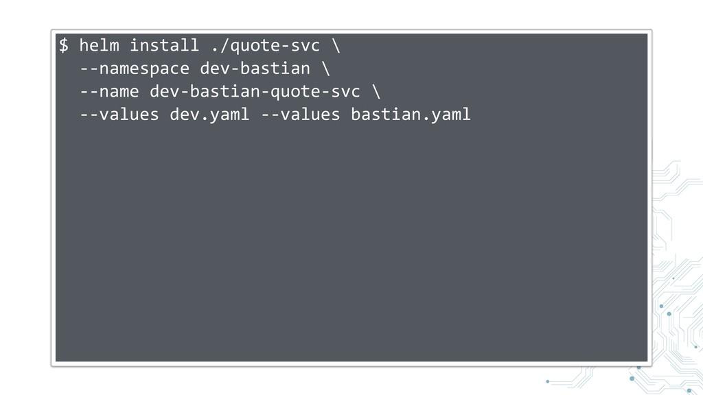 $ helm install ./quote-svc \ --namespace dev-ba...