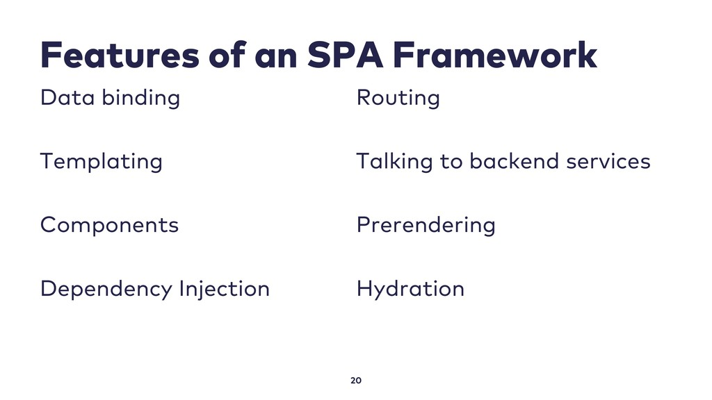 Features of an SPA Framework 20 Data binding Te...
