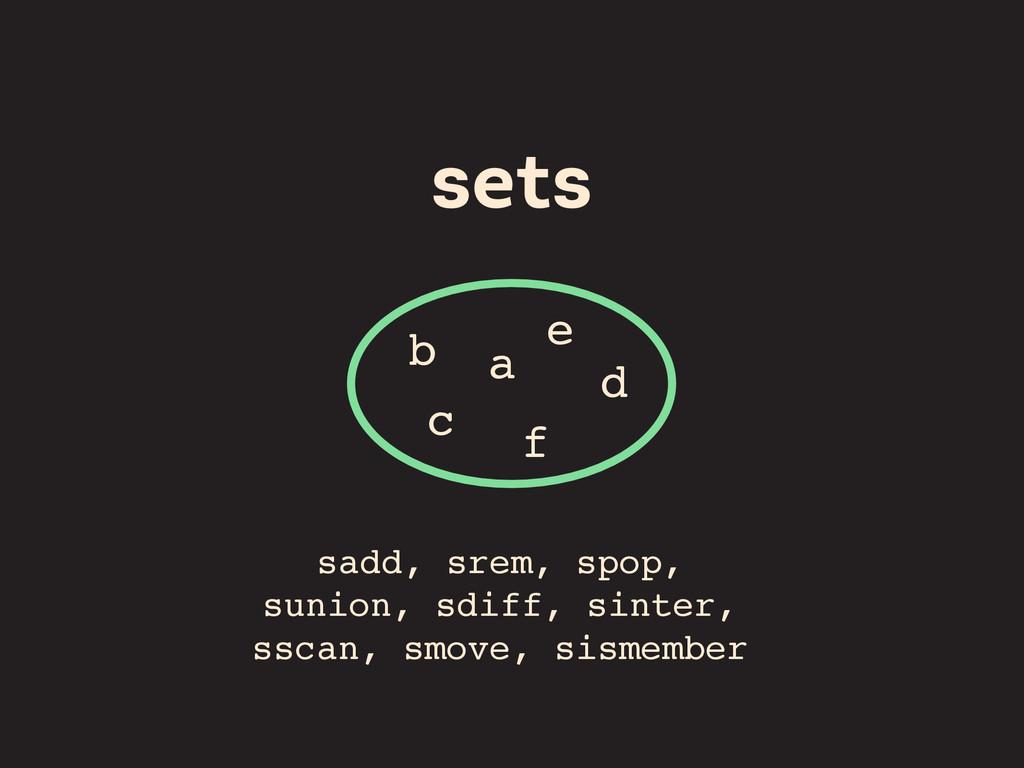 sets a sadd, srem, spop, sunion, sdiff, sinter,...