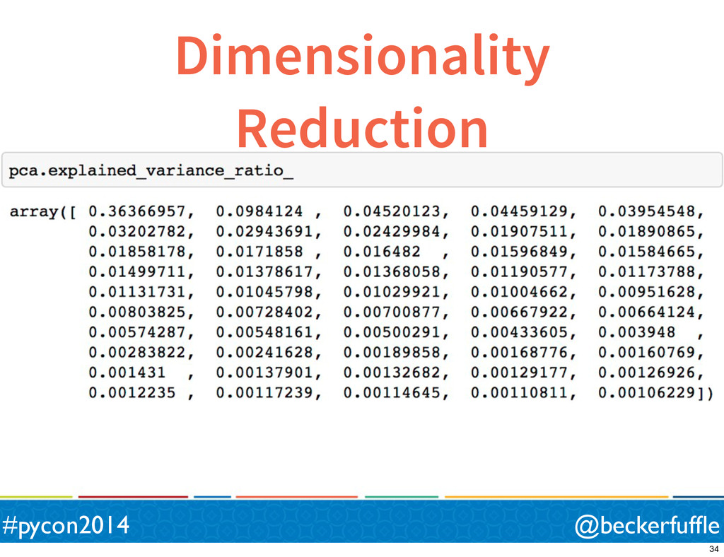 Dimensionality Reduction @beckerfuffle #pycon201...