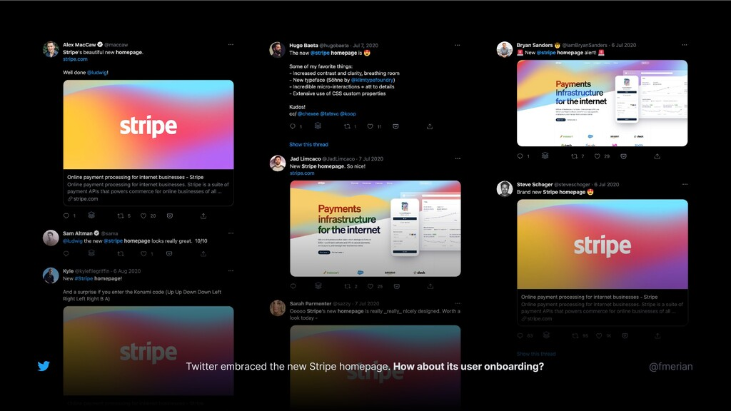 Twitter embraced the new Stripe homepage. How a...