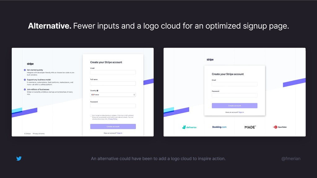 Alternative. Fewer inputs and a logo cloud for ...