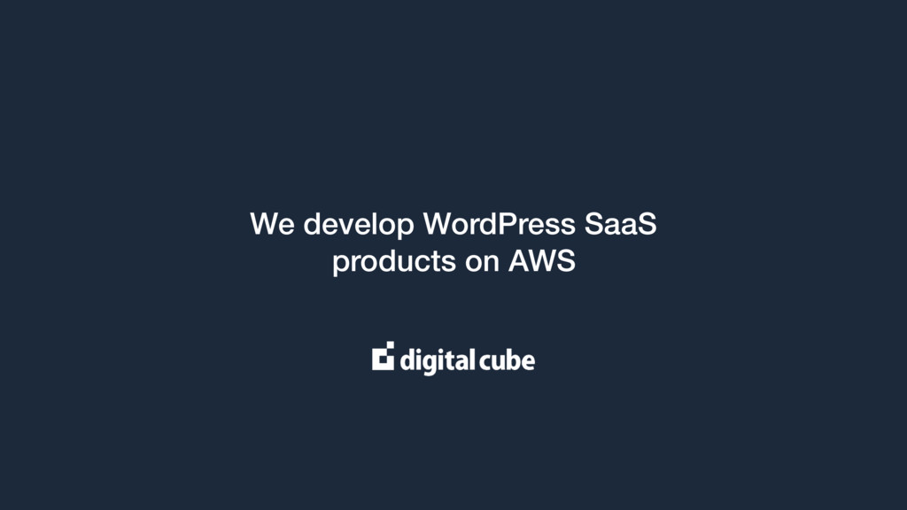 We develop WordPress SaaS products on AWS