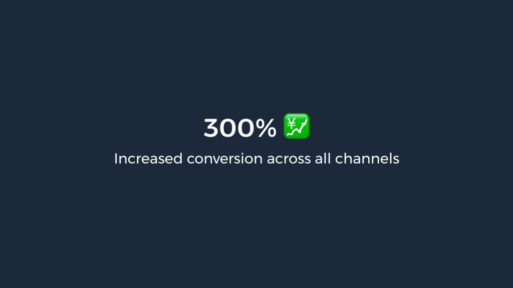 300%  Increased conversion across all channels
