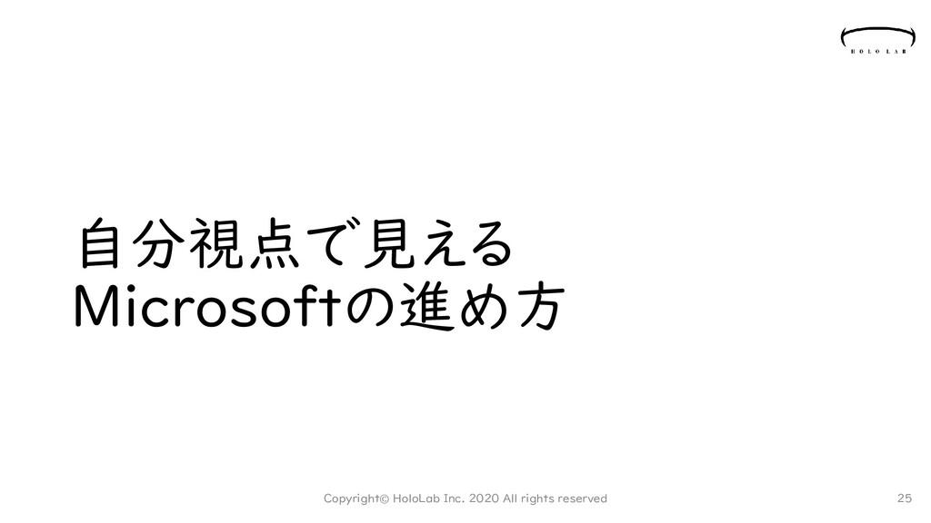 自分視点で見える Microsoftの進め方 Copyright© HoloLab Inc. ...
