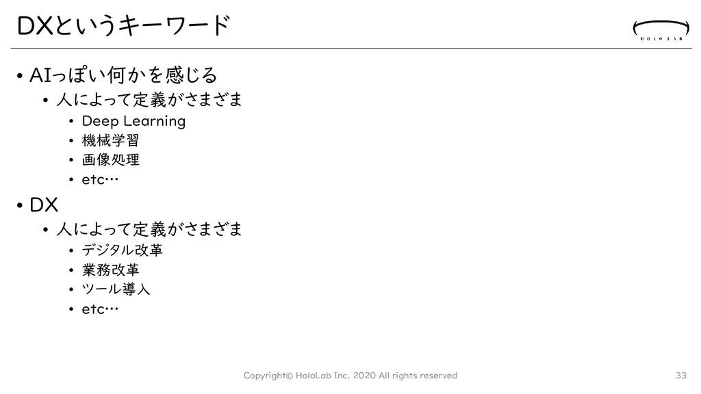 DXというキーワード • AIっぽい何かを感じる • 人によって定義がさまざま • Deep ...