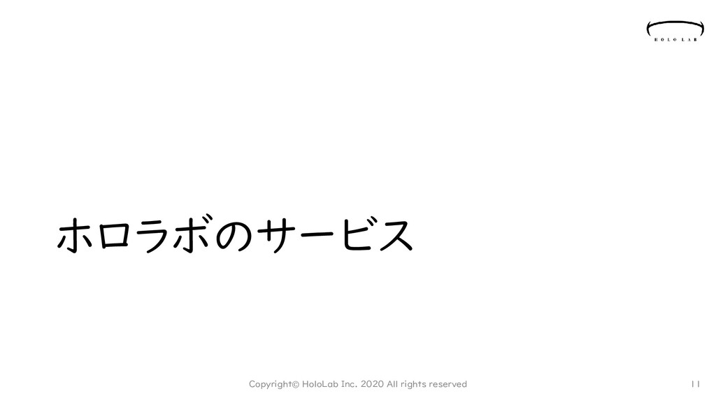 ホロラボのサービス Copyright© HoloLab Inc. 2020 All righ...