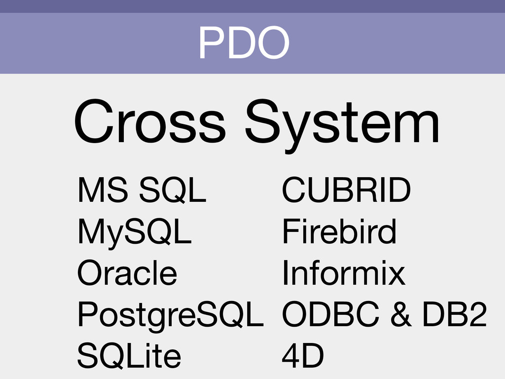 PDO Cross System MS SQL  MySQL  Oracle  Postgre...