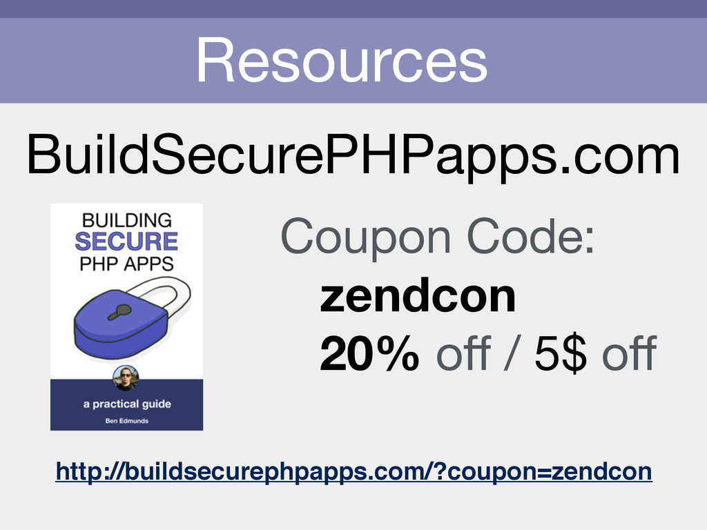 Resources BuildSecurePHPapps.com Coupon Code:  ...