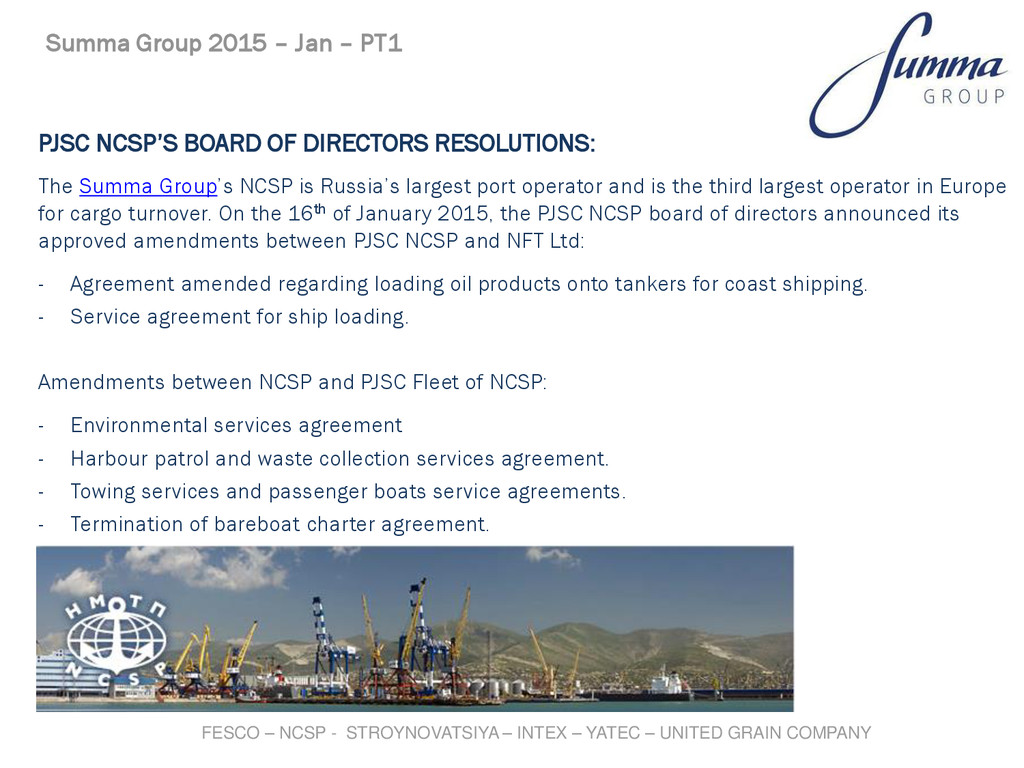 PJSC NCSP'S BOARD OF DIRECTORS RESOLUTIONS: The...