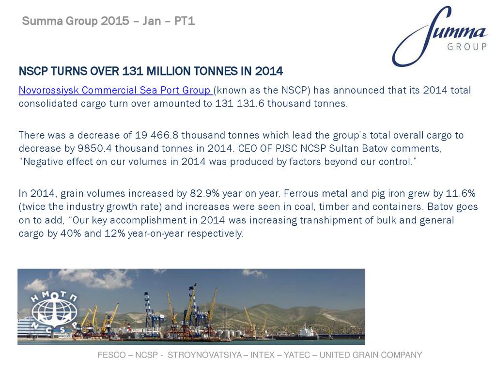 NSCP TURNS OVER 131 MILLION TONNES IN 2014 Novo...
