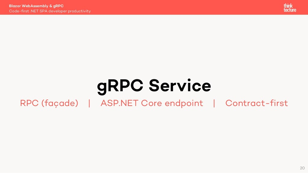 20 gRPC Service RPC (façade)   ASP.NET Core end...