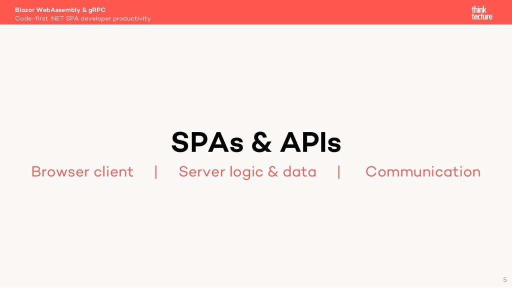 5 SPAs & APIs Browser client   Server logic & d...